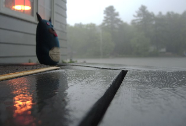 Edgar is sitting outside on a wood porch while watching the rain fall.