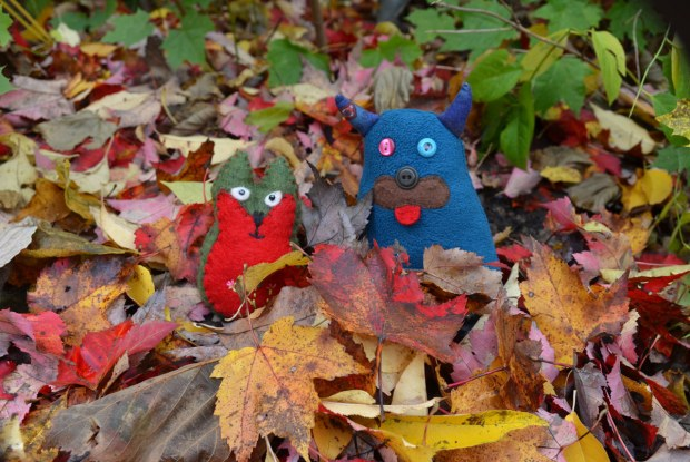 Edgar the blue monster and Flora the little green and red kitten monster are sitting in a pile of leaves that have fallen off the trees.  The leaves are gold, brown and orange colours.  Some green leaves from a shrub are behind them.