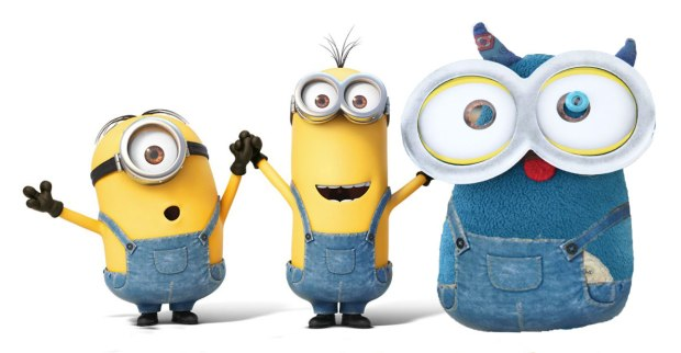a picture that started as an ad for the Minions movie, showing Kevin, Stuart and Bob the minions.  Edgar, wearing goggles to give him minion eyes, plus a denim pair of overalls, has been photoshopped into the photo in the place of Bob