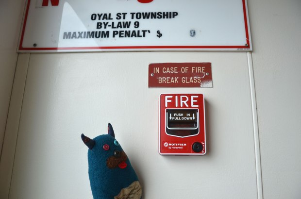 Edgar is looking at a fire alarm on a wall. Above it is a sign that says In Case of Fire Break Glass.
