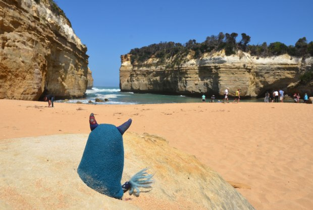 Edgar is sitting on a large sand coloured rock on a beach beside some cliffs at the ocean in Australia by the Great Ocean Road.