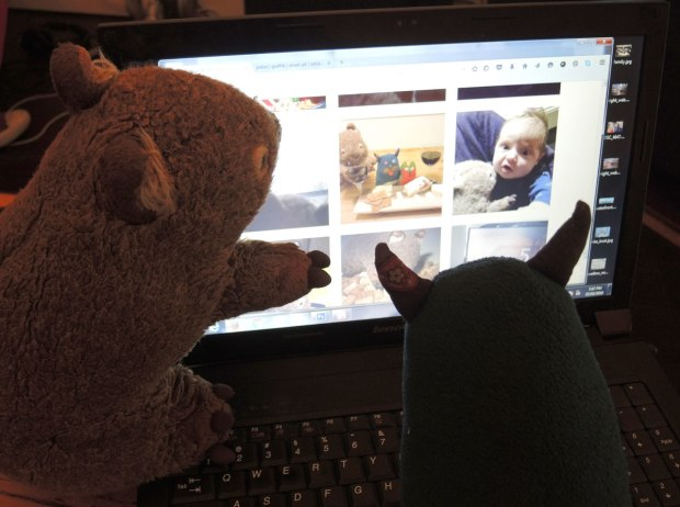 wombie and edgar are sitting on a laptop looking at wombie's instagram feed, especially pictures of Wombie and Edgar together