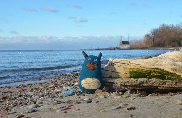 Edgar is leaning against a piece of driftwood on the shore of Lake Ontario with trees and a building behind him, early spring so there are no leaves the trees