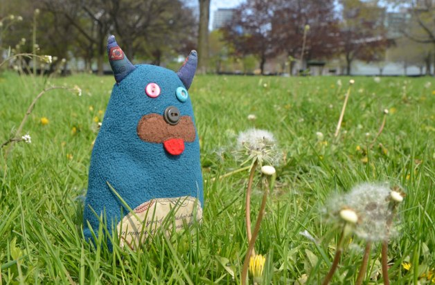 Edgar is sitting in the grass along with some dandelions that have gone to seed.