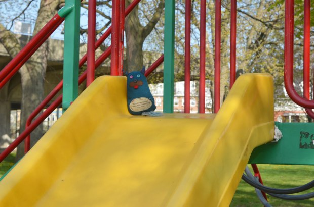 Edgar is in a children's playground, sitting at the top of a yellow slide