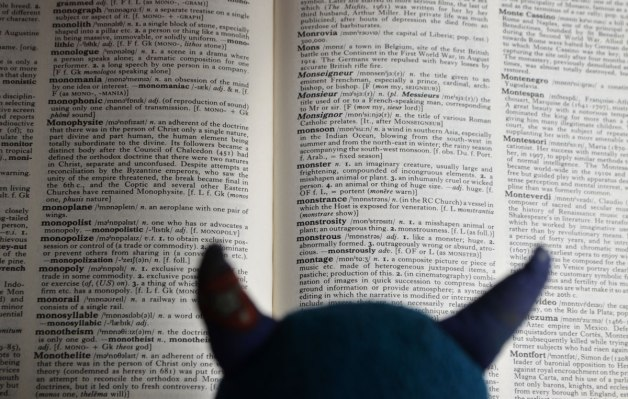 the top of Edgar's head and his horns as he is reading the dictionary, open to the page with the definition of monster, as well as a lot of other words that start with mo
